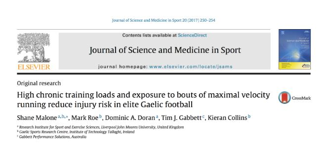 High chronic training loads and exposure to bouts of maximal velocity running reduce injury risk in elite Gaelic football lecco fisioterapia lecco